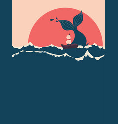 Whale and boat vector