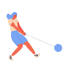 woman in sport clothes training hammer throw vector image