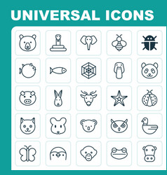Zoology icons set collection of cobweb baboon vector