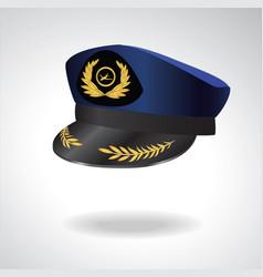 aviator peaked cap of the pilot civil aviation vector image