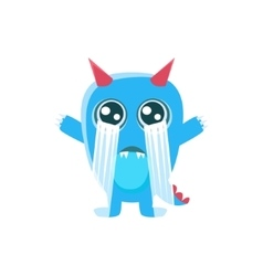 Blue Monster With Horns And Spiky Tail Crying Out vector image vector image