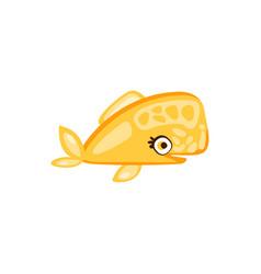cute yellow fish sea creature hand drawn vector image vector image