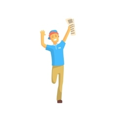 Newspaper Boy Running And Smiling vector image