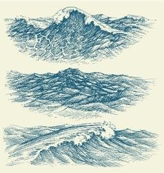 Sea and ocean waves vector image