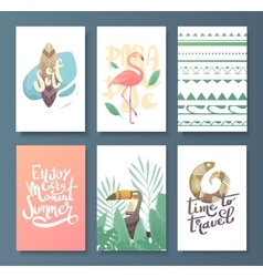 set of bright summer card vector image vector image