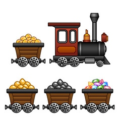 Train with mine tubs vector