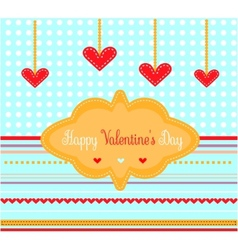 Valentines card with red hearts vector image vector image