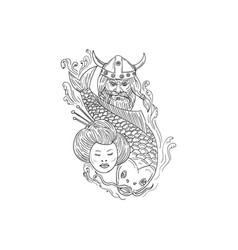 viking carp geisha head black and white drawing vector image vector image