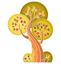 Autumn apple tree in decorative style vector image
