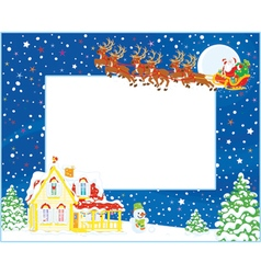 Border with Christmas Sleigh of Santa vector image vector image