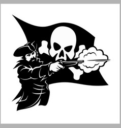 brave pirate with pistol vector image
