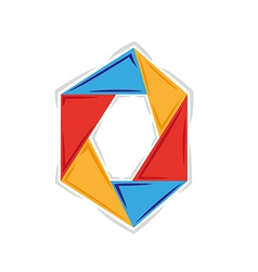 circle created from six triangles with three vector image