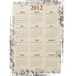 european vector beige floral grungy calendar 2011 vector image vector image