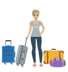 girl tourist with baggage vector image