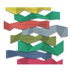 3d colored paper banners origami style vector image