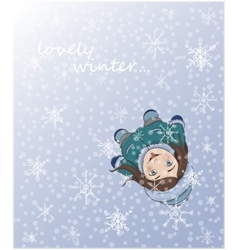 Cute winter girl catching snowflakes with tongue vector image vector image