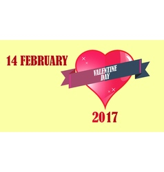 February and lettering greeting card vector image vector image