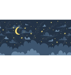 Night sky seamless pattern vector image vector image