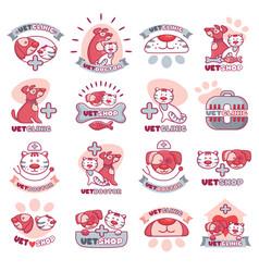 veterinary logo animals face veterinarian vector image