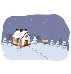 Winter cottage vector image vector image