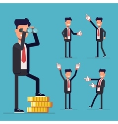 Businessman set a man stands on money and looking vector