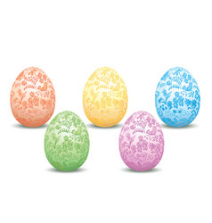 decorative easter eggs - floral ornament vector image