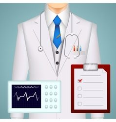 Doctor on medical background vector image vector image
