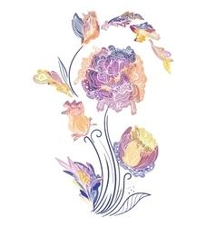Elegant Vignette with Sketch Flowers vector image vector image