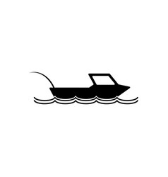 fishing boat icon silhouette vector image vector image