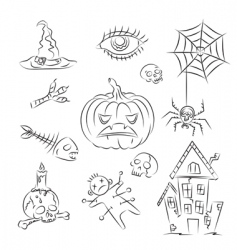 Halloween witch icons vector image vector image