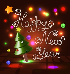 Happy New Year white caramel 3d lettering vector image
