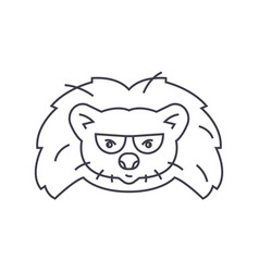 hedgehog head line icon sign vector image