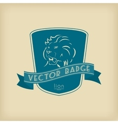Lion Badge with Shield and Ribbon vector image vector image