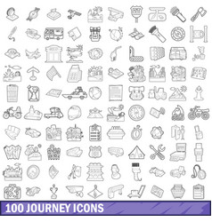 100 journey icons set outline style vector image