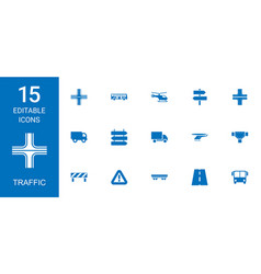 15 traffic icons vector