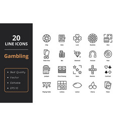 20 gamble line icons vector image