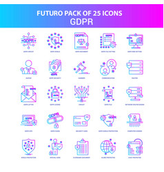 25 blue and pink futuro gdpr icon pack vector
