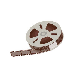 3d empty and blank reel movie 35 mm negative vector image