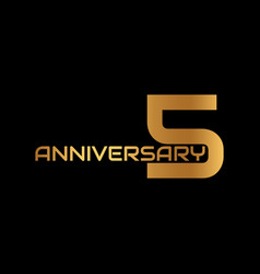 5 year anniversary symbol with golden text vector image