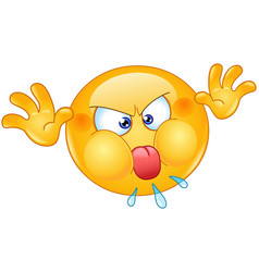Angry emoticon with tongue out vector