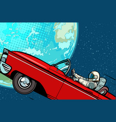 Astronaut in a car over the planet earth vector