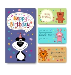 Birthday card with owls vector image