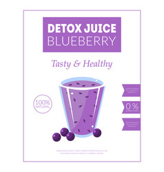 Blueberry detox juice banner template tasty and vector