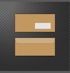 Brown vintage envelope front and back vector