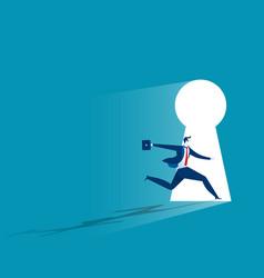 businessman running to large keyhole vector image