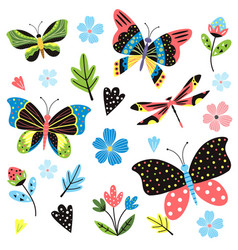 Butterfly pattern bright summertime ornament vector