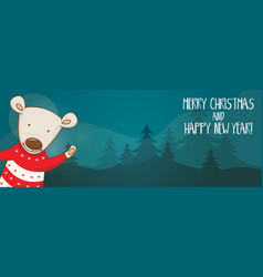 Cartoon banner for holiday theme with bear on vector