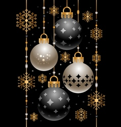 Christmas decoration with golden snowflakes vector