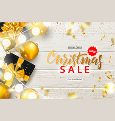christmas sale poster with shiny gold christmas vector image