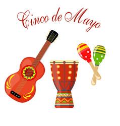 Cinco de mayo maracas green and red drum guitar vector